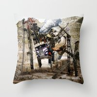 truck Throw Pillows featuring Monster Truck by Jonathan Sims