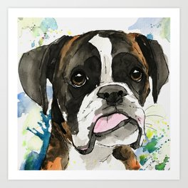 Tongue Out Tuesday Boxer Dog Art Art Print