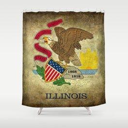 Illinois State flag, vintage on parchment paper Shower Curtain
