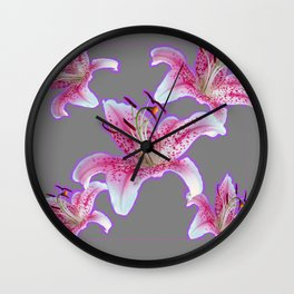 PURPLE & PINK ASIAN LILIES GREY ART PATTERNS Wall Clock