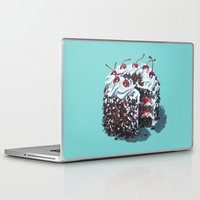 dessert Laptop & iPad Skins featuring Dessert : Black Forest Cake by Jody Edwards Art