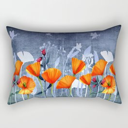 Summer night- Shadow of a Poppy meadow- Flowers Rectangular Pillow