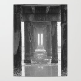 The Fog Rolls In Under The Pier Poster