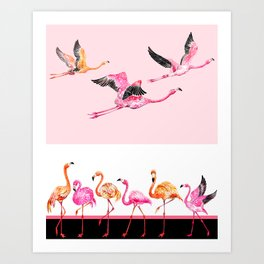 Flamingo_pattern Art Print