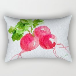Watercolor Radishes Rectangular Pillow