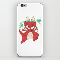 magic the gathering iPhone & iPod Skins featuring Chibi Red Dragon Magic the Gathering Token by Deadlance