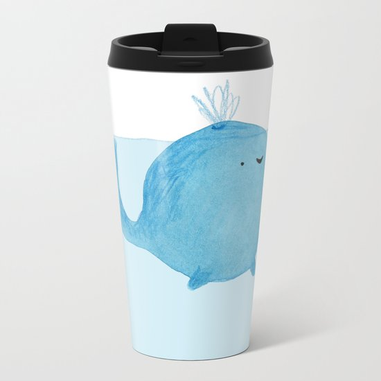 The Enigmatic Pudding Whale Metal Travel Mug