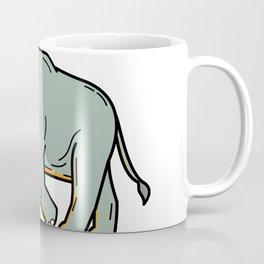 African Elephant Walking Mono Line Art Coffee Mug