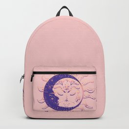 Modern tattoo of sleeping sun and crescent moon design. Backpack
