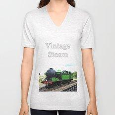 Vintage Steam railway engine Unisex V-Neck