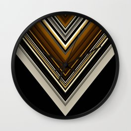 Retro Triangles Pattern in black, grey, yellow and brown Wall Clock