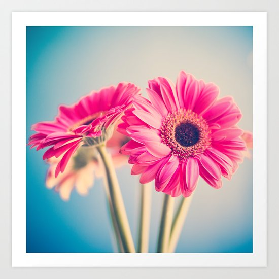 Acid Tongue, Pink Flower on Blue  Art Print