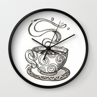 whisky Wall Clocks featuring She drinks whisky in a tea cup by grishpradip