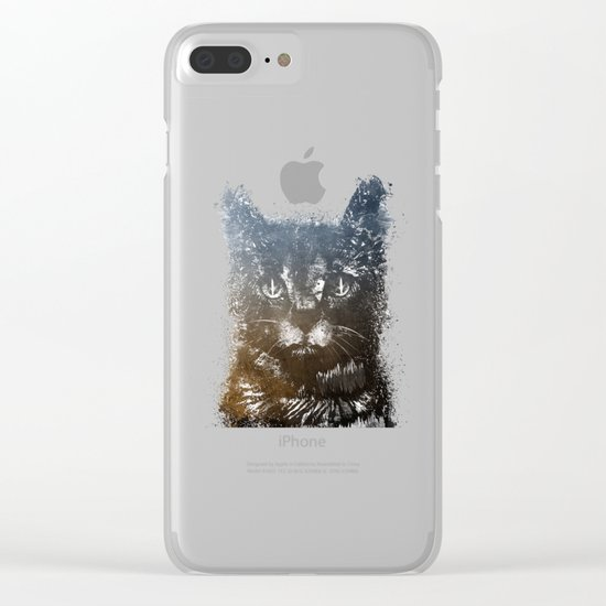 Gray cat Lucky Clear iPhone Case