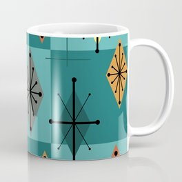 Mid Century Modern Starburst Diamonds Turquise & Teal Coffee Mug