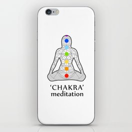 Woman in meditation with the seven chakras and its respective colors iPhone Skin