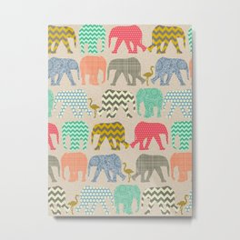 baby elephants and flamingos linen Metal Print