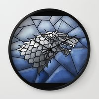 house stark Wall Clocks featuring House Stark Stained Glass by itsamoose
