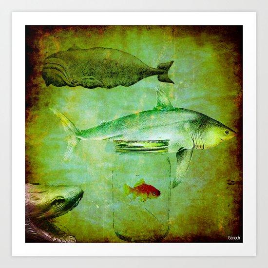 Hostile environment for a goldfish Art Print