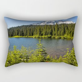 Wildflower Color by Reflection Lake and Mt Rainier, No. 2 Rectangular Pillow