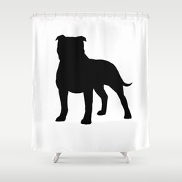 Staffordshire Bull Terrier Silhouette Shower Curtain