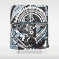 tron Shower Curtains featuring J.13.McKie.design by Mark McKie