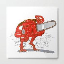Chainsawrus Metal Print
