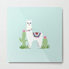Cute Desert Alpaca Metal Print