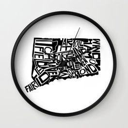 Typographic Connecticut Wall Clock