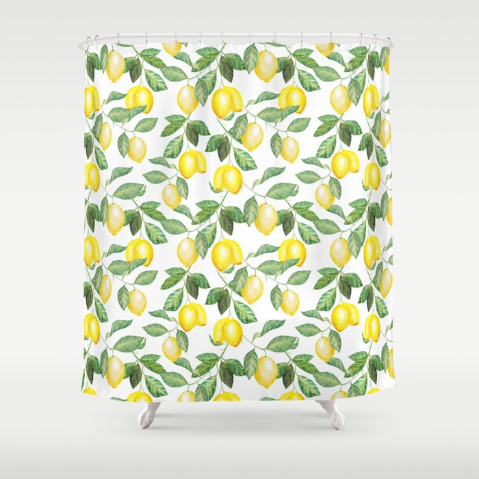 Modern Green Yellow Watercolor Lemon Summer Fruit Shower Curtain By Pink Water