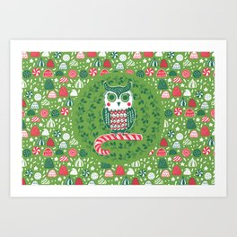 Festive Owl Art Print