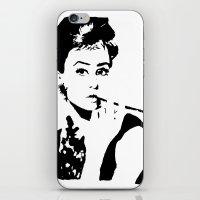 hepburn iPhone & iPod Skins featuring Hepburn by annelise h
