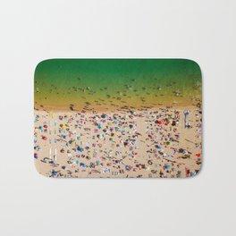 Aerial Summer View Of People Crowd Having Fun On Cascais Beach In Portugal Bath Mat