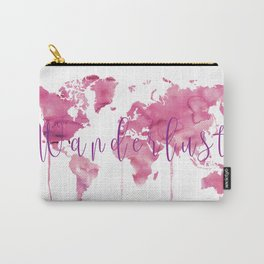 World Map Wanderlust - Pink Watercolor Carry-All Pouch