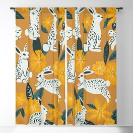 Bunnies & Blooms - Ochre & Teal Palette Blackout Curtain