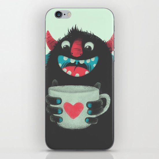 Demon with a cup of coffee iPhone & iPod Skin