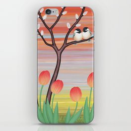 chickadees, pussy willow, & tulips iPhone Skin
