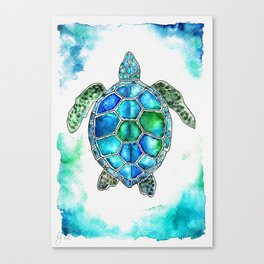 turtle in watercolors Canvas Print