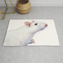 White Rat Watercolor Albino Rat Animal Rug