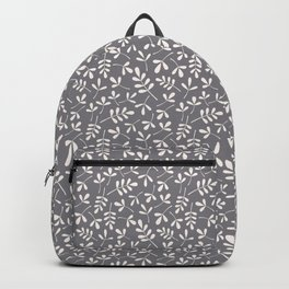Assorted Leaf Silhouettes Cream on Grey Ptn Backpack