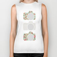 polka dot Biker Tanks featuring Floral & Polka Dot Cameras by Allyson Johnson