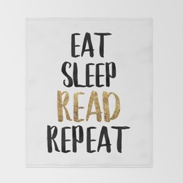 Eat Sleep Read Repeat Gold Throw Blanket