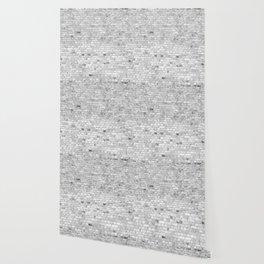 White Washed Brick Wall - Light White and Grey Wash Stone Brick Wallpaper