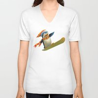 snowboard V-neck T-shirts featuring Funny Mr. Penguin riding snowboard by pakowacz