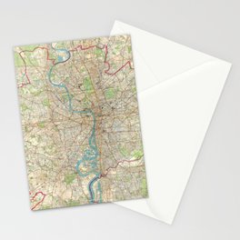 Vintage Map of London England (1899) Stationery Cards