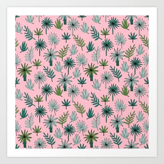 Palm tropical illustration by andrea lauren palm leaves palm trees desert island Art Print