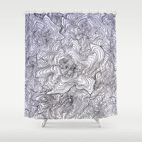 tree rings Shower Curtains featuring Abstract Tree Rings by nikart