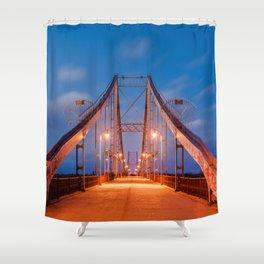 evening a pedestrian bridge in Kiev Shower Curtain