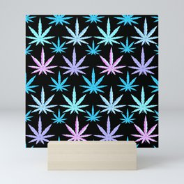 Marijuana Garden Pink Lavender Turquoise Aqua Mini Art Print