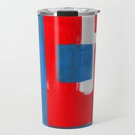 Minimalist Abstract Colorful Mid Century Modern Art Painting Red Blue Brush Strokes Travel Mug